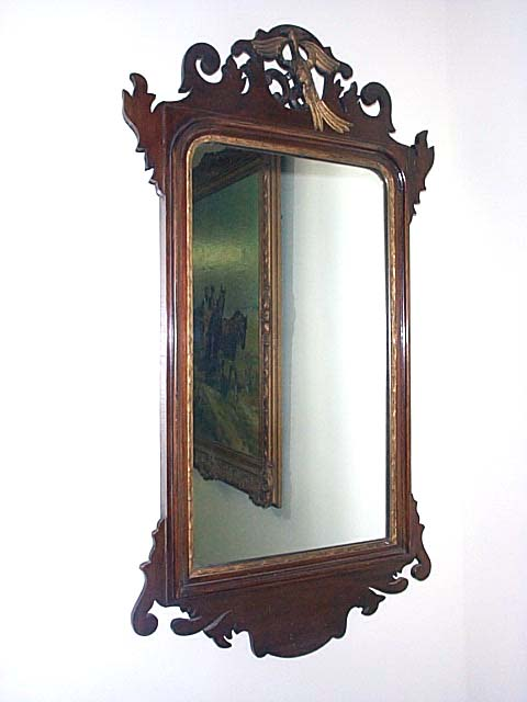 A Chippendale Style Mahogany Mirror.
