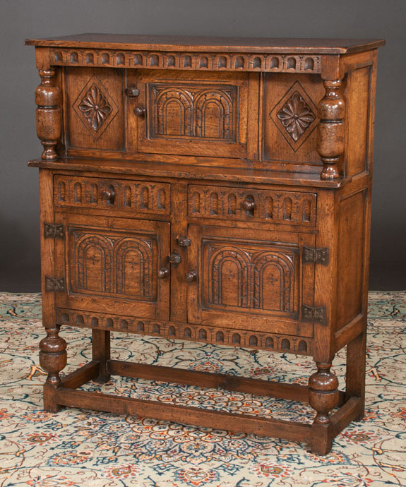 Small Jacobean Style Oak Court Cupboard