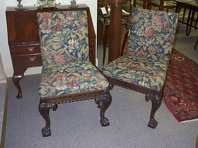 A Pair Of Irish Chippendale Style Side Chairs.