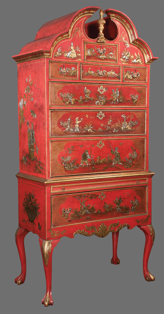 19th Century Queen Anne Crimson And Gold Bonnet Top Highboy