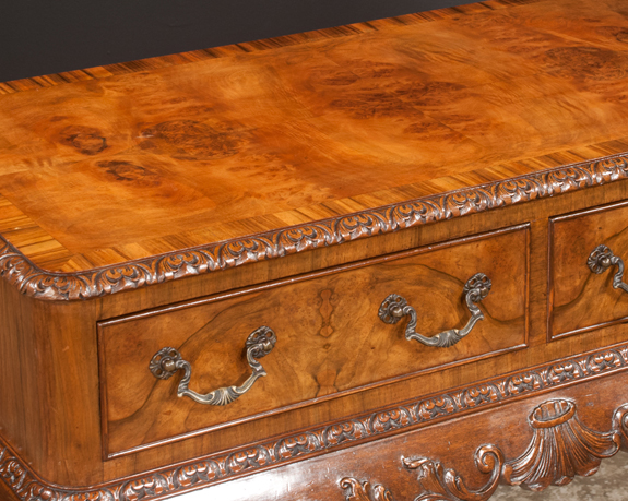 Chippendale Style Burl Walnut Side Table