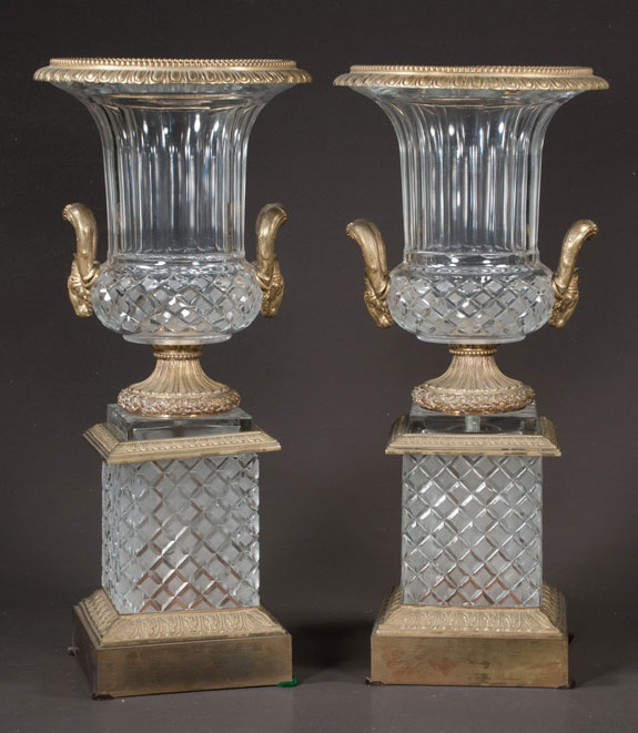 Pair Of Bronze Mounted Urns