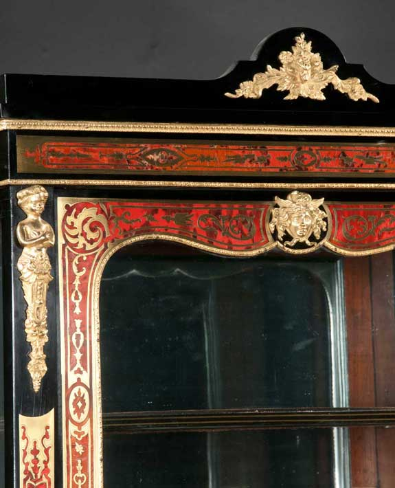 French Boulle Style Ebonized Display Cabinet