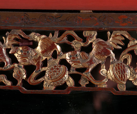 Carved Red Lacquered Chinese Mirror