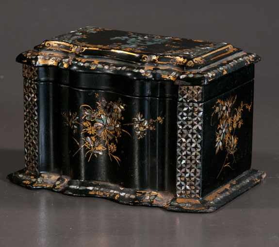 Inlaid Georgian Papier-Mâché Tea Caddy