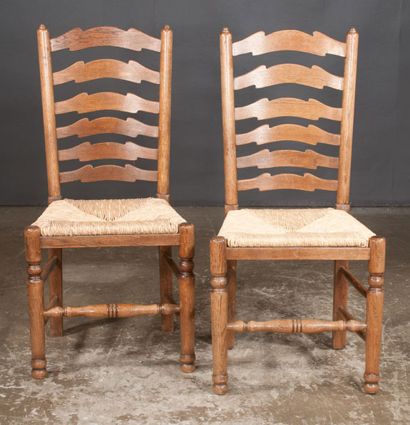 Set of Six Lancashire County Oak Ladder Back Chairs