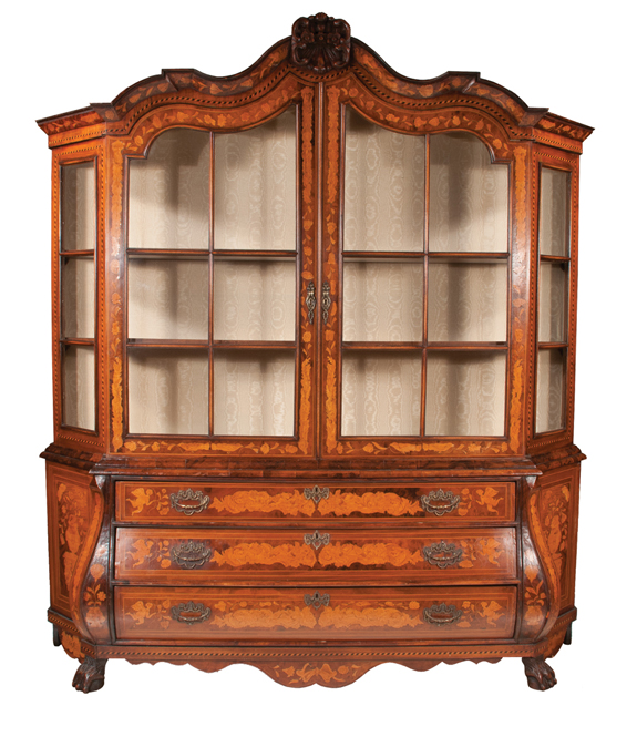 Exceptional Dutch Walnut Bonnet Top Display Cabinet