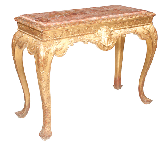 Chippendale Style Gold Leaf Marble Top Console Table