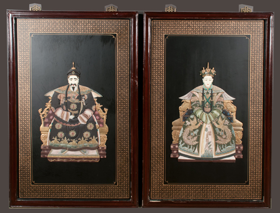 Pair of Chinese Lacquered Hanging Panels
