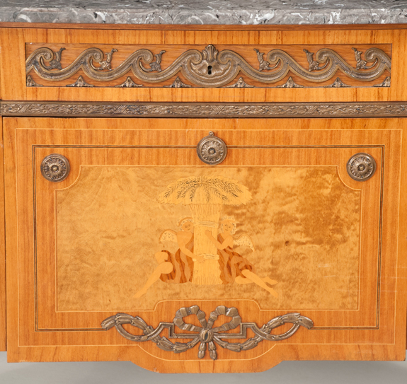 Louis XV Bronze Mounted Marble Top Satinwood Commode