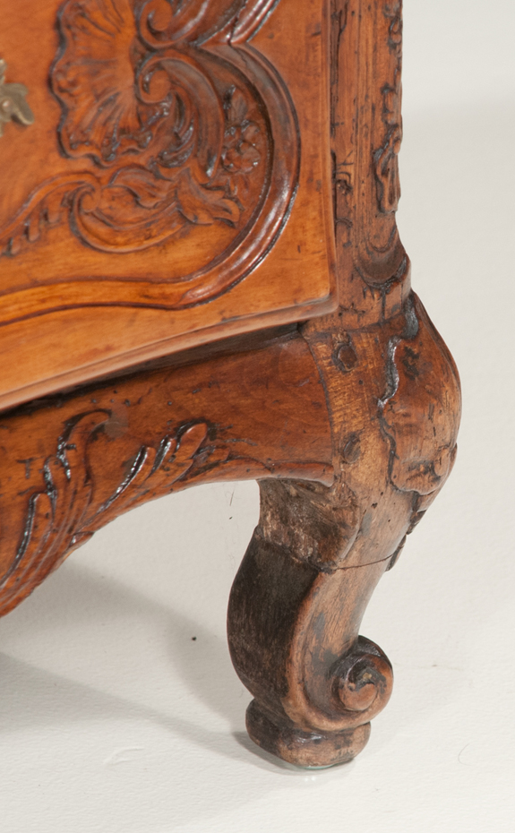 Country French Oak and Walnut Serpentine Front Commode