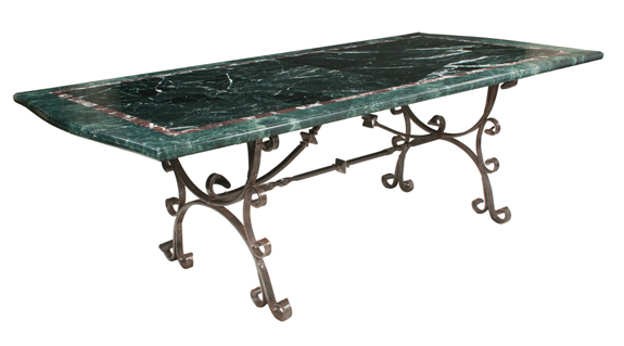 French Marble Top Iron Dining Table