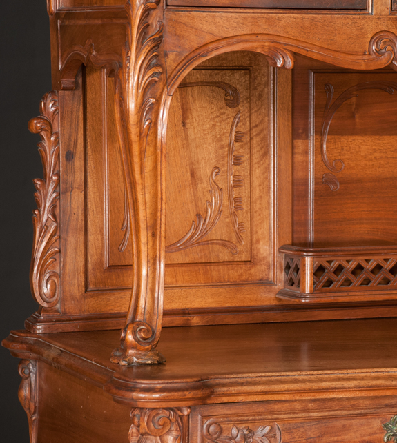 Two Part Country French Walnut Buffet