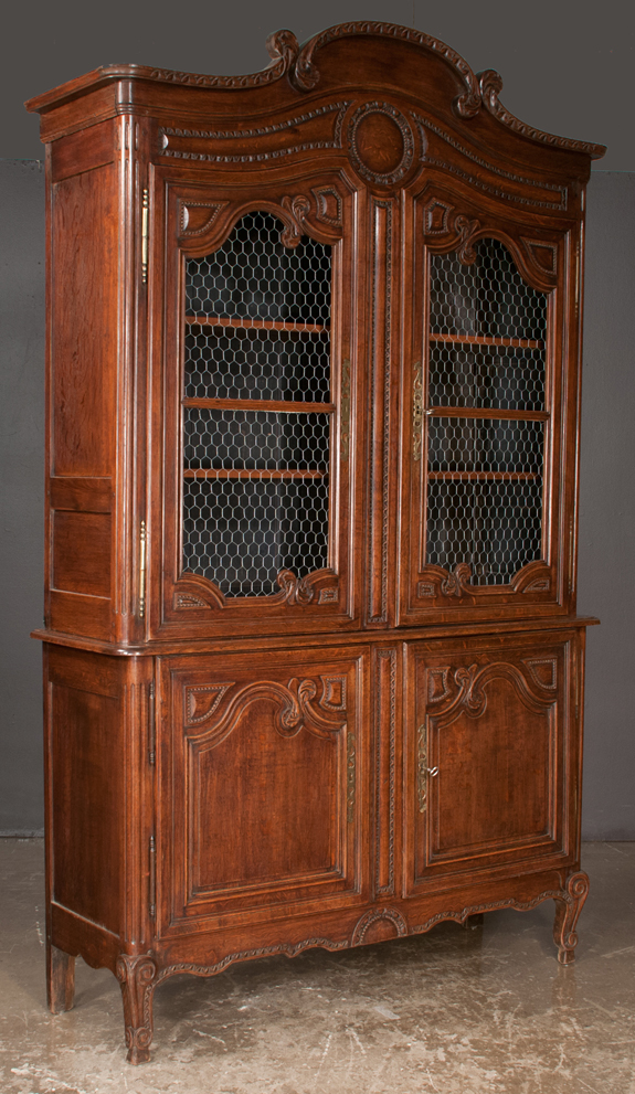 Two Part Country French Oak Cabinet
