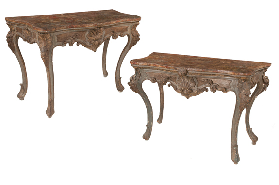 Pair of Early 19th Century Serpentine Front Italian Console Tables