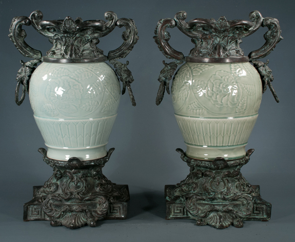 Pair of Chinese Celedon Porcelain Vases