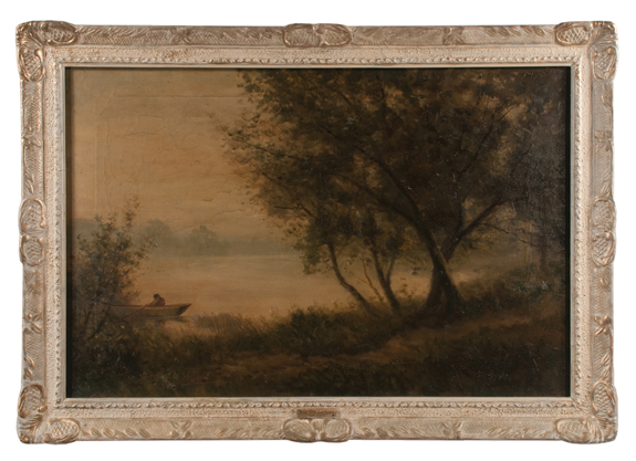 19th Century Oil Painting on Canvas Forest Scene
