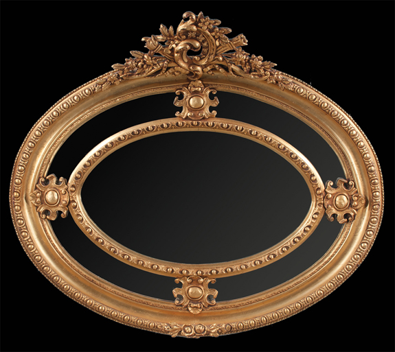 Oval Louis XV Style Gold Gilt Mirror