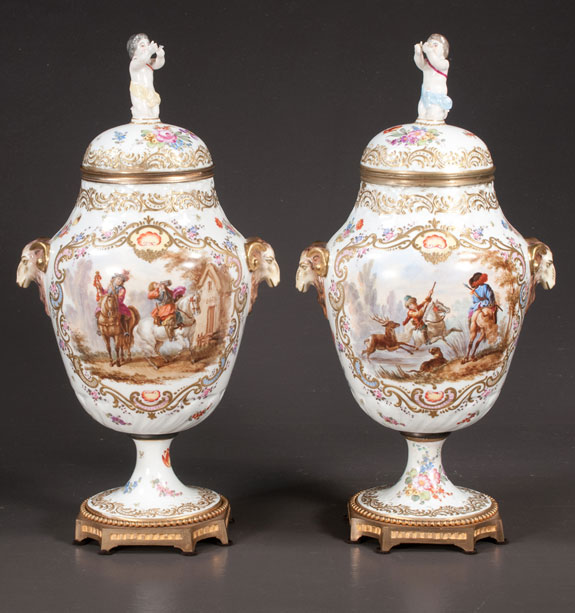 Pair Of 19th Century French Porcelain Urns