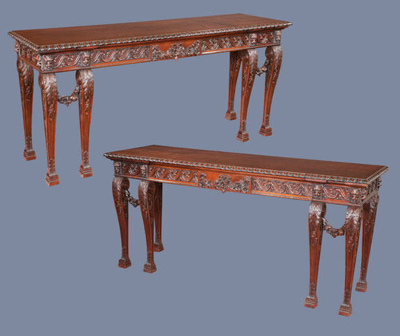 Pair of Irish Chippendale Style Mahogany Console Tables