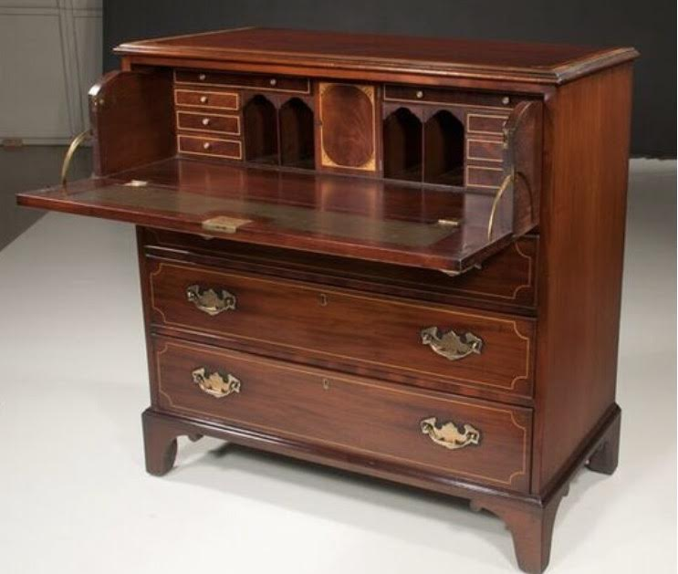 Chippendale Mahogany Secretaire Chest