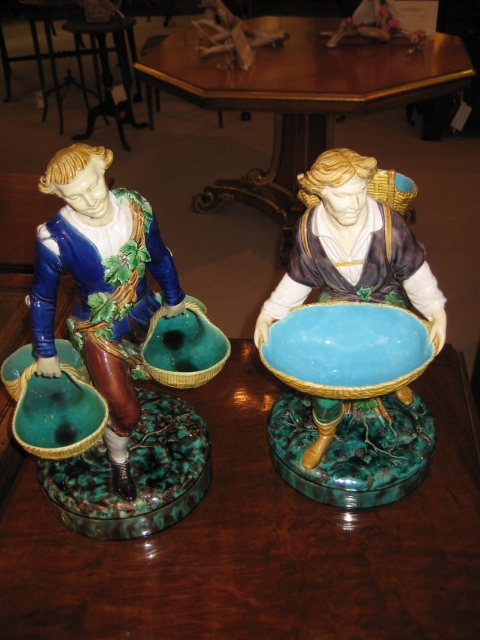 Pair Of Minton Majolica Figural Sweetmeat Stands