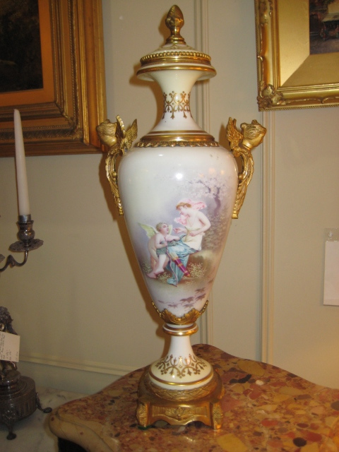French Sevres Porcelain Capped Urn