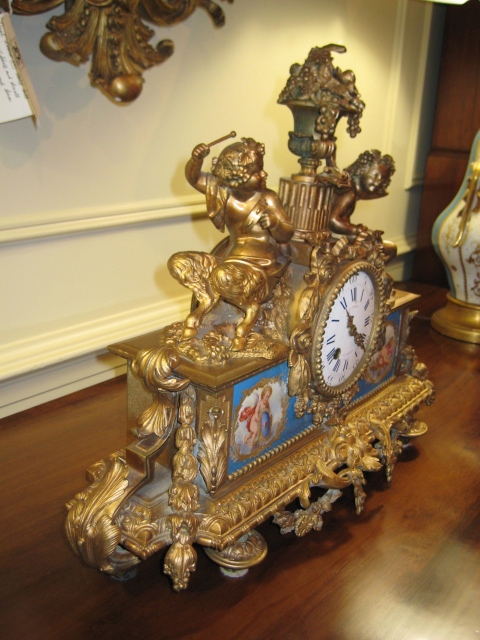 French Sevres Bronze Mounted Mantle Clock
