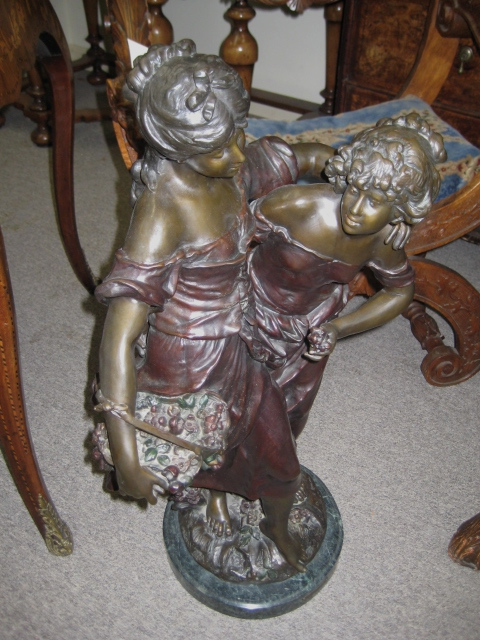 Bronze Sculpture Of Two Young Women
