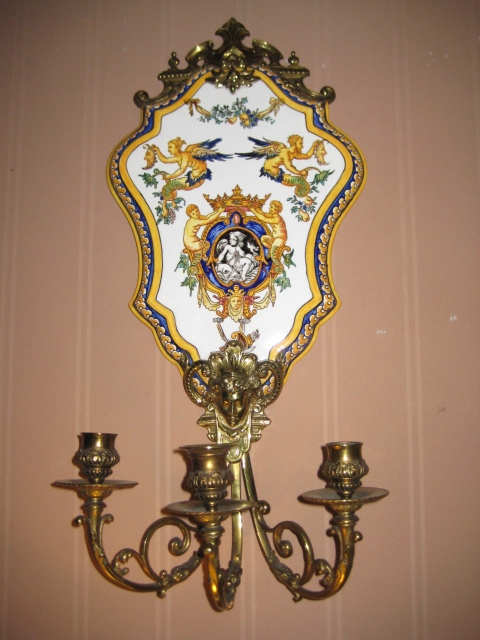 Pair Of Louis XV Style Bronze Wall Sconce With Porcelain Panels