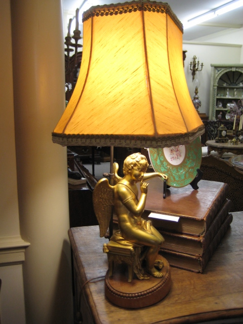 Continental Gilt-brass Figure Of A Putto Converted To Lamp