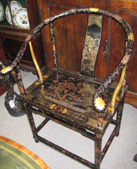 Chinese Black Lacquered Bow Back Armchair