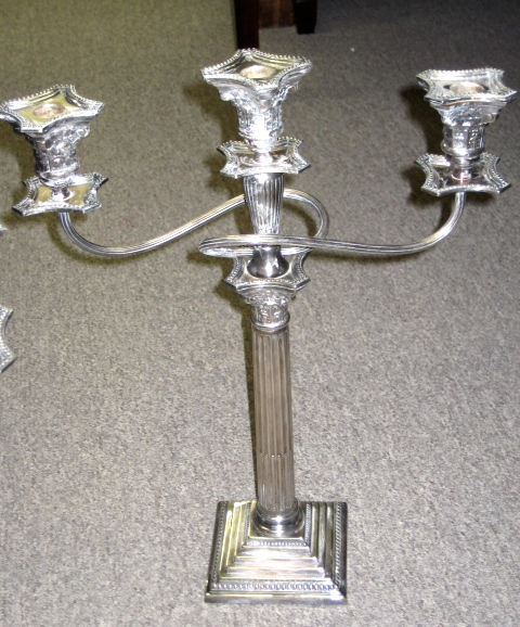 Pair Of English Three Branch Silver Plated Candelabra