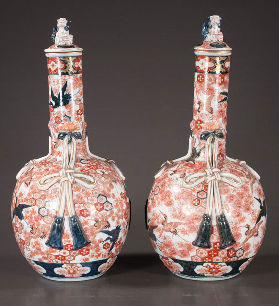 Unusual Pair Of Imari Porcelain Vases