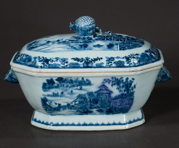 Blue And White Chinese Canton Porcelain Soup Tureen