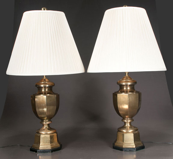 Pair Of Brass Urn Shape Lamps