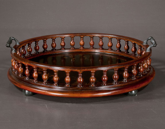 English Bouble Handled Circular Wooden Tray