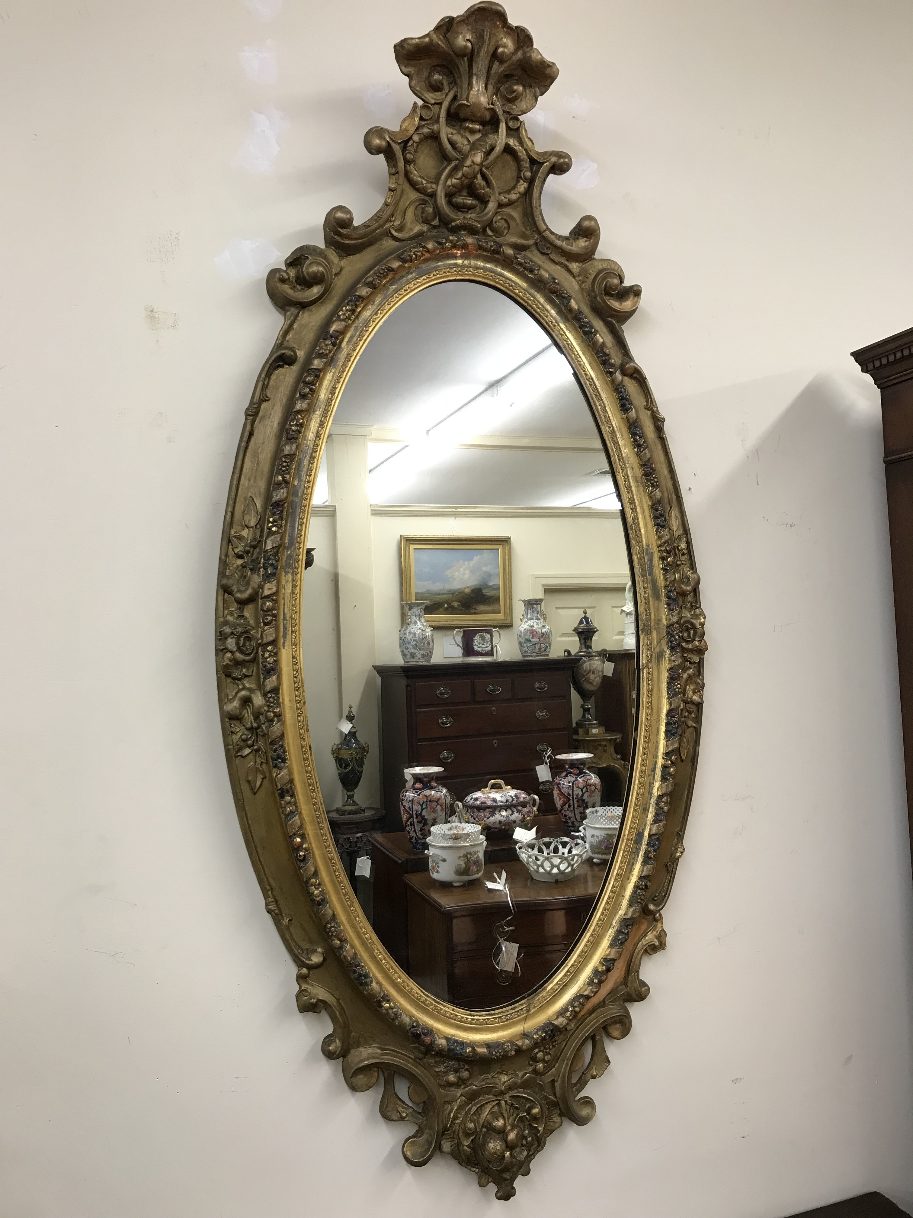 French Gold Gilt Oval Mirror