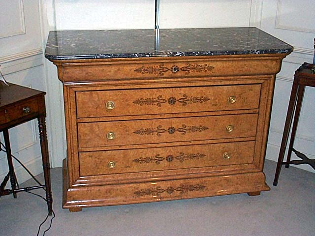 A Fine Restauration Burled Elm And Marble Top Commode.