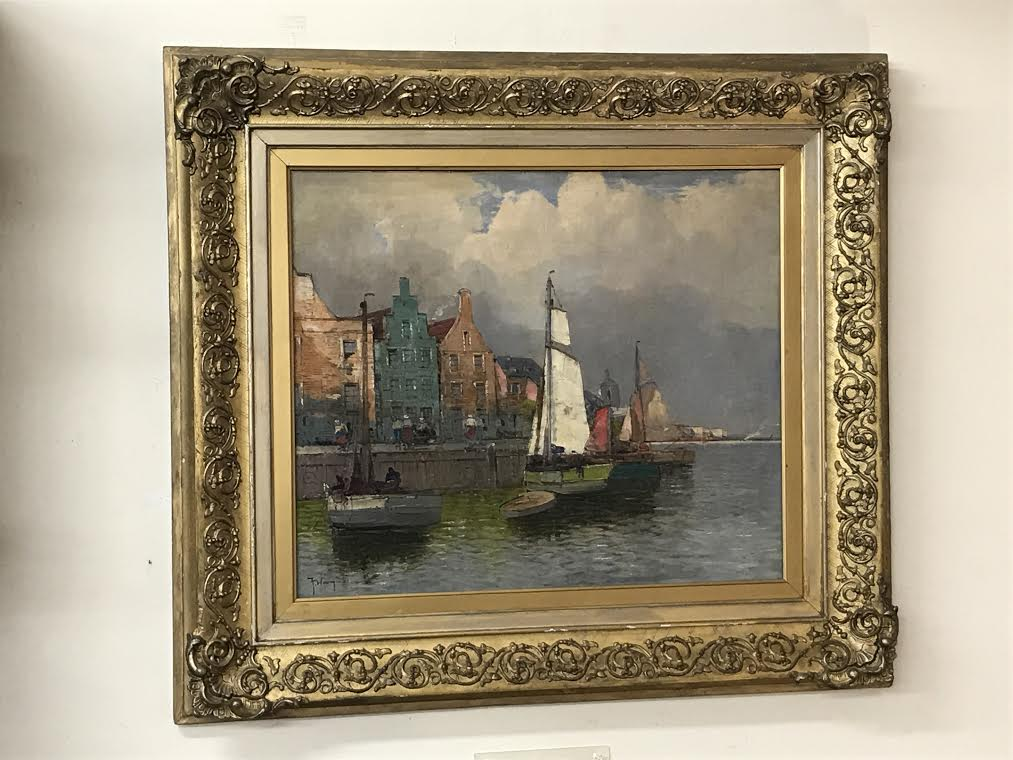 Oil On Panel of a Harbor Scene