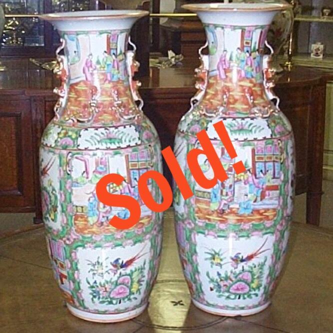 Pair Of Chinese Rose Medallion Palace Urns.