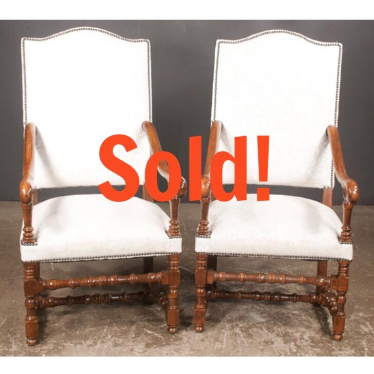 Pair of Country French Walnut Fauteuils