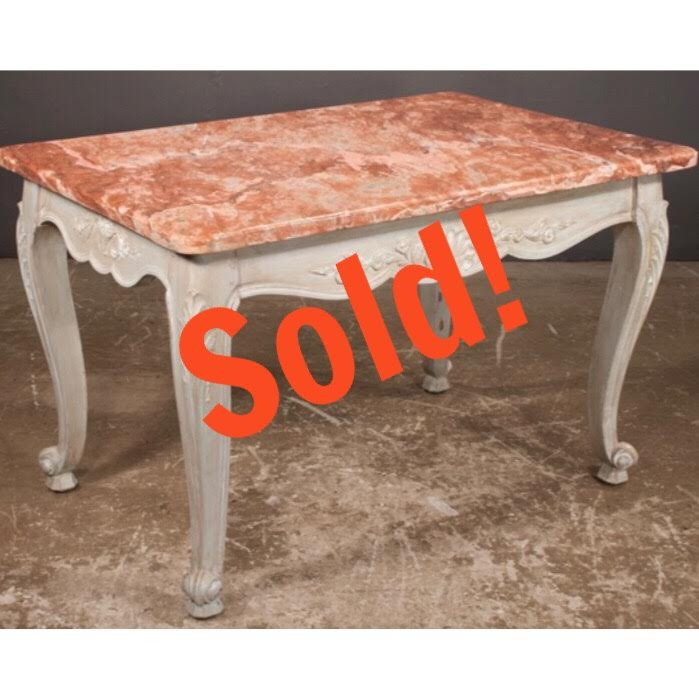 Louis XV Style Painted Marble Top Salon Table