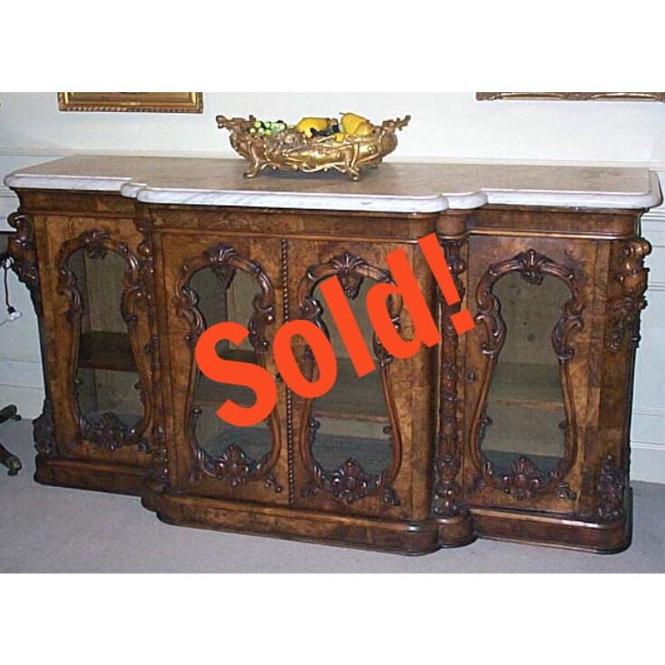 English Carved Walnut Marble Top Credenza.