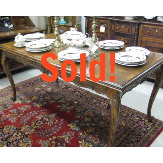 Country French Walnut Draw Leaf Dining Table