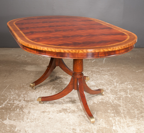 Sheraton Style Mahogany Two Pedestal Dining Table