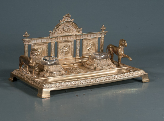 Gilt Bronze Desk Stand with Lions