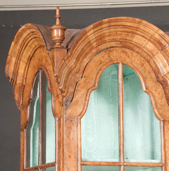 Fine English Walnut Triple Dome Display Cabinet