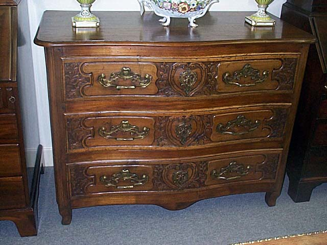 Superb Country French Carved Walnut Three Drawer Commode