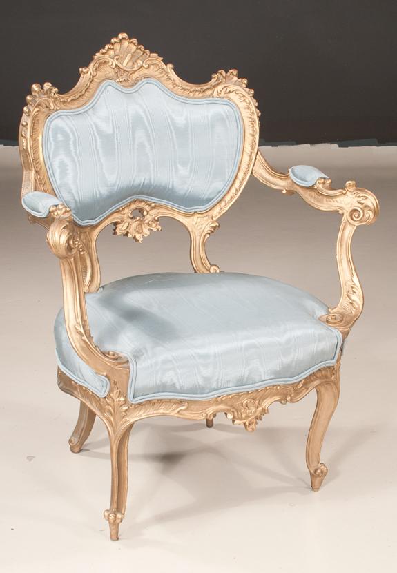 Louis XV Style Gold Gilt Fauteuil